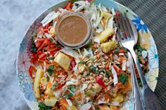 Indonesian Slaw with Spicy Peanut Dressing