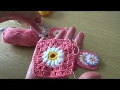 Crochet Daisy Flowers - Daisy centres for granny squares and decorations - YouTube