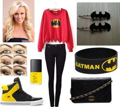 """""""Batman Outfit"""" by goofygoose on Polyvore...different sweatshirt and shoes tho"""