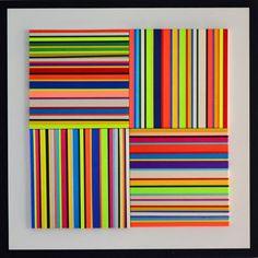 Miguel Calles  Paralelas con cintas, 2016  Técnica: Textiles/mdf  Medidas: 75 x 75 cms  Firmada  Certificado