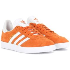 Adidas Originals Gazelle Suede Sneakers ($110) ❤ liked on Polyvore featuring shoes, sneakers, orange, orange sneakers, suede shoes, adidas originals, adidas originals trainers and suede leather shoes