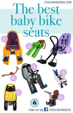 Our selection an reviews of the top front-mounted and rear-mounted baby / child bike seat. Kid bicycle seats for the win! Images: 1. Thule RideAlong | 2. iBert safe-t seat  |  3. Yepp mini  |  4. Schwinn deluxe child carrier  |  5. Thule RideAlong mini  |  6. Tyke Toter  |  7. Yepp maxi  |  8. Weeride Kangaroo