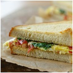 Spinach and Roma Tomato Omelet Sandwich