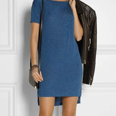 #GiftBuzz - T Mini Dress | Alexander Wang Classic Jersey Mini #Dress Information Tap into T by Alexander Wang's model-off-duty aesthetic with this 'Classic' T-shirt mini dress. Cut from soft jersey, it has a cool storm-blue hue that's perfect for transitioning in between the seasons. Highlight the dipped-back hem with bare legs and pumps. Storm-blue jersey Slips on 100% rayon Hand wash Designer color: Marine