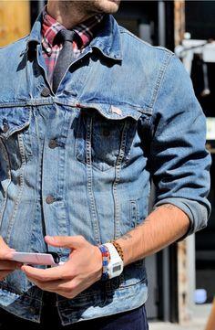 jaqueta jeans gravata