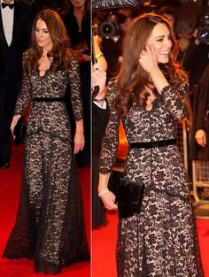 Kate Middleton-Alexander McQueen black lace gown
