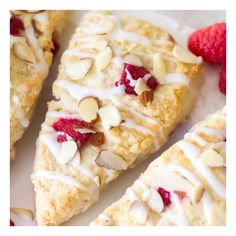 Raspberry Almond Cream Scones foodgawker ❤ liked on Polyvore featuring food