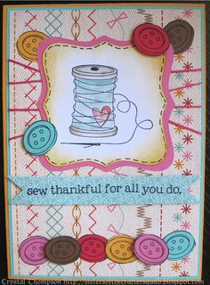 """Mother's Day card made using Unity """"Sew Cute"""" set. Image coloured with Distress Markers. Paper by My Little Shoebox."""