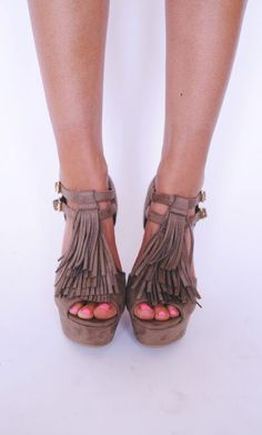 Taupe Fringe Wedges - Dottie Couture Boutique