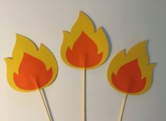 Fire center pieces - flames  on a stick - cake toppers-party decorations - fire on a stick