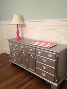 Metallic painted dresser. $400.00, via Etsy. - or I could do this to the dresser I have sitting in my room right now!