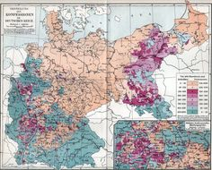1890s map of distribution of Catholics and Protestants in the German Reich