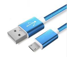 Colourful Nylon Micro USB Cable for Apple and Android Phones – Blue - Android