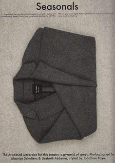 The cover of Seasonals mag + this Lanvin grey coat.
