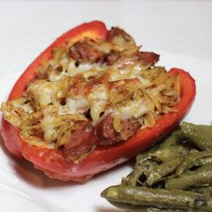Smoked Sausage and Orzo Stuffed Peppers - I love that this stuffed pepper is not your typical stuffed pepper! #ad #AllstarsHillshire #SausageShortcuts