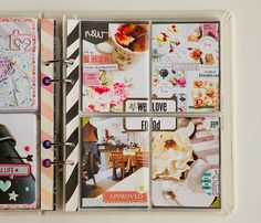 four pictures all connected with a box in the middle with words + washi tape on the inside part of the page protector!