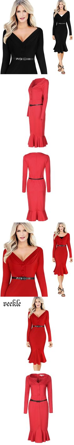 cbb73506710 VEEKLE Mermaid Dresses Black Long Sleeve Belted Bodycon Robe Femme Office  Dress Pencil 2017 Spring Work Special Occasion Red