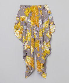 Look at this #zulilyfind! Yellow & Gray Floral Harem Pants - Toddler & Girls by Yo Baby #zulilyfinds