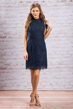 """""""Lace To The Party Dress, Navy""""When you show up in this lace dress it won't matter if you are five or even twenty minutes late! Everyone will be too busy adoring you in this flattering beauty to even notice! #newarrivals #shopthemint"""
