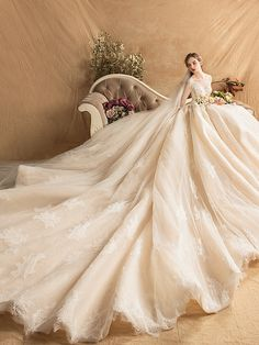 Luxury / Gorgeous Champagne Wedding Dresses 2019 A-Line / Princess Scoop Neck Beading Pearl Rhinestone Lace Flower Long Sleeve Backless Cathedral Train Bella Wedding Dress, Princess Wedding Dresses, Modest Wedding Dresses, Bridal Dresses, Night Gown Dress, Beautiful Wedding Gowns, Fantasy Dress, Quinceanera Dresses, Cathedral Train
