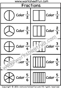Coloring Fractions – Halves, Thirds, Fourths, Fifths, Sixths, Sevenths, Eights – Three Worksheets