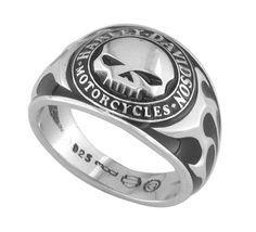 Harley-Davidson® Men's Skull Ring with Black Enamel HDR0143