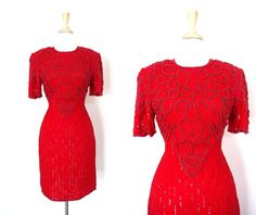 Vintage Red Sequin Dress by VolereVintage on Etsy, $100.00
