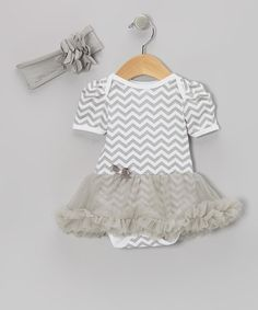 Take a look at this Gray Zigzag Skirted Bodysuit & Headband - Infant by Baby Gem by Royal Gem Clothing on #zulily today!