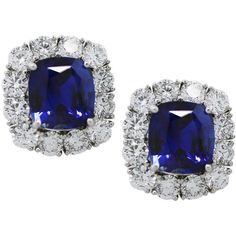 Pre-owned Blue Sapphire and Diamond Platinum Button Earrings ($68,995) ❤ liked on Polyvore featuring jewelry, earrings, accessories, stud earrings, diamond earrings, stud earring set, blue sapphire stud earrings, pandora jewelry and womens jewellery