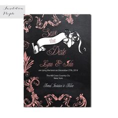 Chalkboard Pink Swirls Banner Love Save the Date Invitation - Digital or Printed Save The Date Invitations, Printable Invitations, Bridal Shower Invitations, Modern Invitations, Invites, Shabby Chic Yellow, Floral Save The Dates, To My Future Husband, Vintage Floral