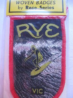 Great surfing image in metallic thread on this cloth patch of RYE, VICTORIA, AUSTRALIA. Highest ebay bid on 11 Aug, one day before auction finished, was $39.