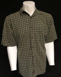 Woolrich Green White Large Short Sleeve Button Front Shirt #Woolrich #ButtonFront