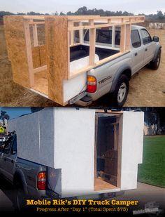 Mobile Rik built a Homemade DIY Truck Camper for his Tacoma Prerunner for just $250