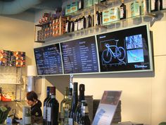 Menue displays at Bianchi Café & Cycles, Stockholm, Sweden. Last Meter Marketing by ZetaDisplay.