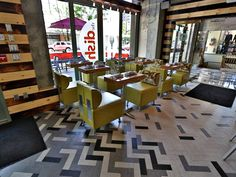 Geometric Flooring at The Dish in Boise, ID Mannington Flooring, Vinyl Flooring, Floor Patterns, Tile Patterns, Living Room Flooring, Kitchen Flooring, Floor Design, House Design, Doors And Floors