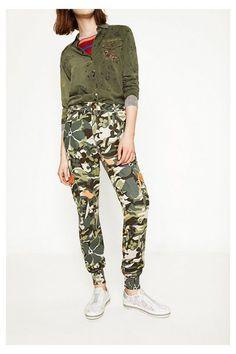 camo cargo pants floral pattern