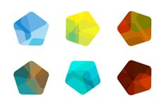 9 colour Pentagon logo vector