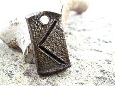 Kenaz - Kaunan celtic viking rune pendant, blacksmith forged wrought iron jewelry, steel gift idea, iron anniversary