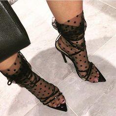 Sheer socks and heels - s h o e s 'n' s o c k s - Women Ankle High Socks, Socks And Heels, Sheer Socks, Lace Socks, Dr Martens Boots, Dr. Martens, Fashion Socks, Fashion Outfits, Womens Fashion