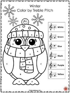 WINTER COLOR by MUSIC SYMBOL GLYPHS This set contains 26 WINTER Music Coloring Glyphs Using North American terminology!