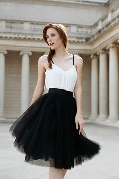 black white outfit, feminine tulle, Space 46 tulle, fall fashion photoshoot, twirl time