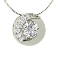 Diamond & VS Diamond Necklace in 14k White Gold   0.54 ct. tw.   Round Cut   Unique Pendant   Trance   Diamondere