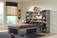 trendy bedroom design with cool headboard
