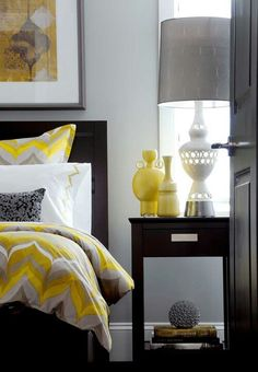 Yellow And Gray Bedroom - Design photos, ideas and inspiration. Amazing gallery of interior design and decorating ideas of Yellow And Gray Bedroom in bedrooms, dens/libraries/offices, girl's rooms, boy's rooms by elite interior designers. Gray Bedroom Walls, Home Bedroom, Bedroom Decor, Bedroom Ideas, Gray Walls, Master Bedroom, Bedroom Designs, Bedroom Furniture, Black Furniture