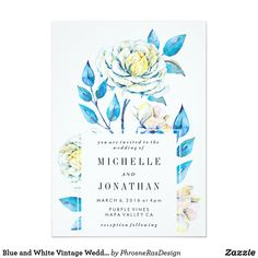 Blue and White Vintage Wedding Invitation Illustrated flowers, white roses and turquoise colors. Blue and White Rose Kraft. Shabby chic and trendy bold flowers. Garden weddings with a bohemian theme. White background. Antique vintage theme.