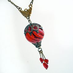 Beautiful Red Balloon - Hot Air Balloon with Hearts - Pendant Necklace Jewelry Jewellery. $45.00, via Etsy.