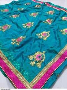 Designer Sana Chatai Silk Embroidered Saree with Brocade Lace Border Designer Silk Sarees, Art Silk Sarees, Lace Border, Saree Dress, Indian Ethnic Wear, Embroidered Silk, Saree Wedding, Dresses Uk, Lehenga Choli