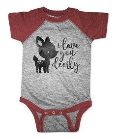 Look what I found on #zulily! Vintage Burgundy 'I Love You Deerly' Raglan Bodysuit - Infant #zulilyfinds