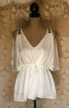 White Top Summer Top Sleeveless Boho Top Goddess by MagpieandOtis