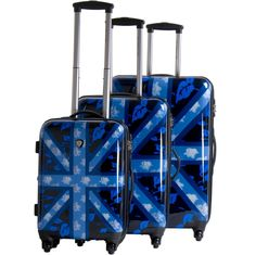 CalPak Union Jack 3 Piece Hardside Spinner Set LUJ3000-BLU-MARINA | Luggage Pros $284